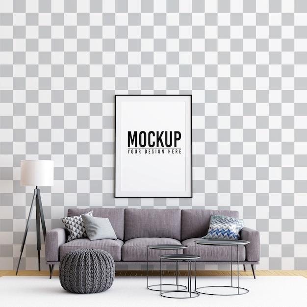 Interior living room poster frame mock up Premium Psd