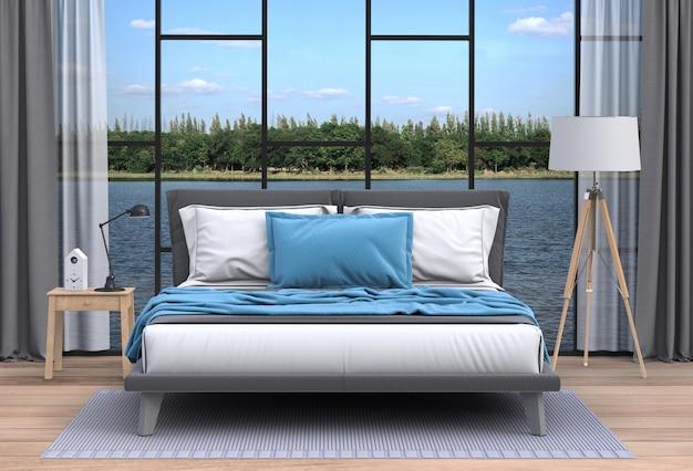 Interior living room and river landscape Premium Psd