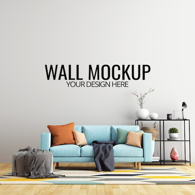 Interior living room wall background mockup with furniture and decoration Premium Psd