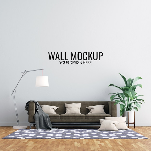 Interior living room wall mockup with furniture and decoration Premium Psd