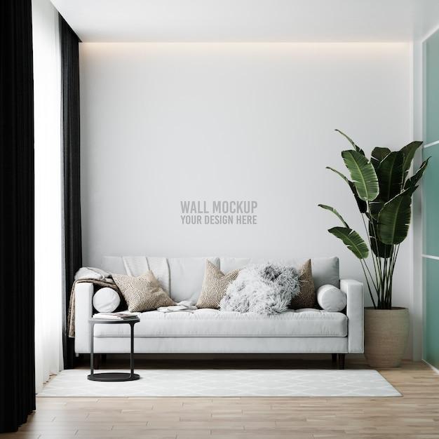 Интерьер гостиной стены мокап Бесплатные Psd