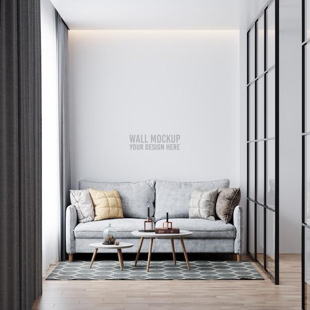 Interior living room wall mockup Free Psd