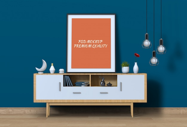 Interior living room with sideboard and mockup blank poster. Premium Psd