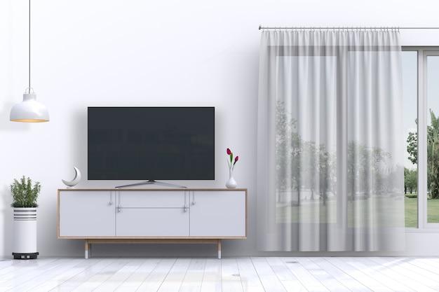 Интерьер гостиной с умным телевизором и украшениями Premium Psd