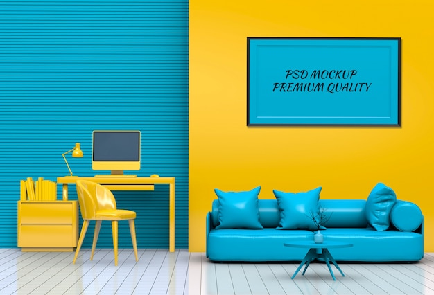 Interior living room workspace with sofa, desktop computer and mockup blank poster Premium Psd