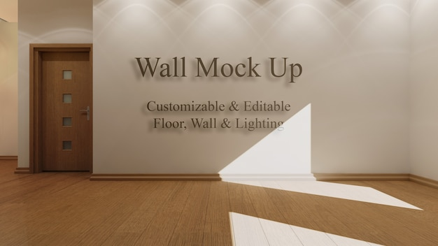 Interior mock up with editable sunlight, floor and walls Free Psd