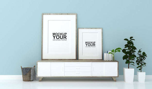 Interior mockup of photo frame on wall in 3d rendering Premium Psd