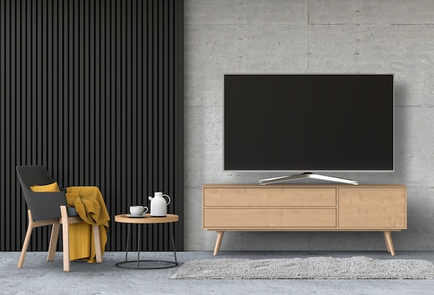 Interior modern living room with smart tv, cabinet, and armchair. Premium Psd