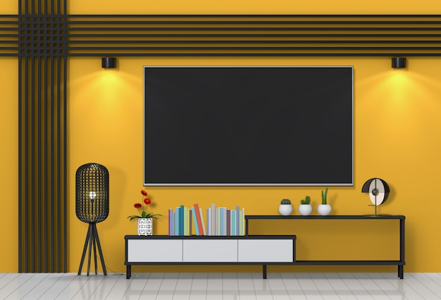 living room tv and rack in a colored illustration