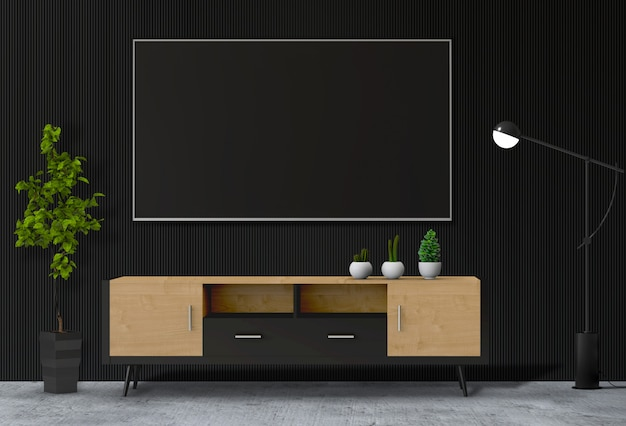 Interior modern living room with smart tv Premium Psd