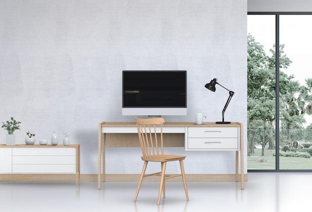 Interior Modern Living Room Workspace With Desk Desktop