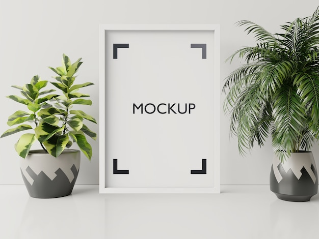 植木鉢でモックアップのインテリアポスター、白い壁の3dレンダリングで部屋に花 無料 Psd