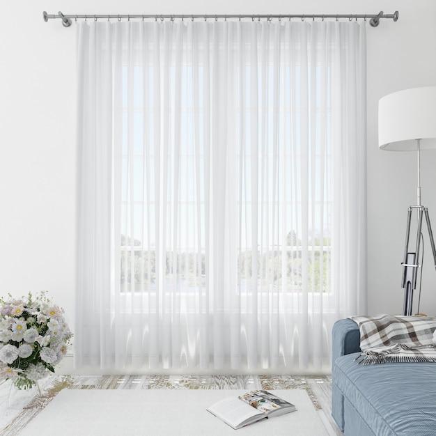 Интерьер комнаты с белыми занавесками Бесплатные Psd