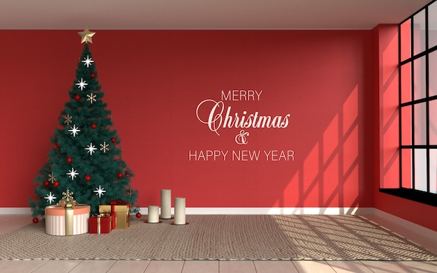 Interior scene with red room and christmas tree and wallpaper mockup Premium Psd
