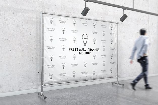 Interior stand banner mockup Premium Psd