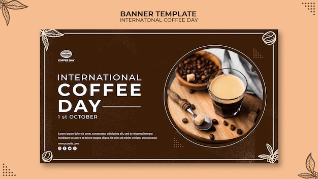 International coffee day banner concept template Free Psd