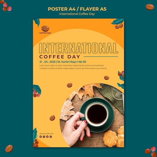 Дизайн флаера к международному дню кофе Бесплатные Psd