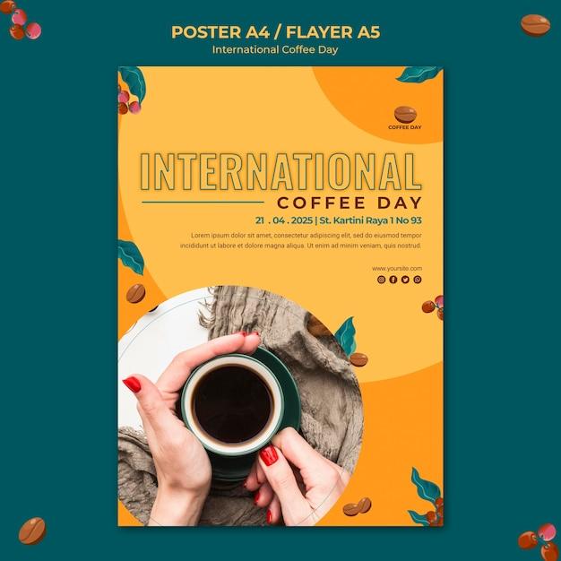 Тема флаера международного дня кофе Бесплатные Psd