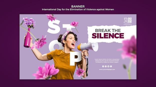 Modello di banner giornata internazionale per l'eliminazione della violenza contro le donne con foto Psd Gratuite