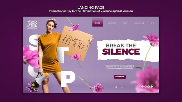 Pagina di destinazione della giornata internazionale per l'eliminazione della violenza contro le donne Psd Gratuite