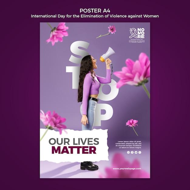 Manifesto con foto della giornata internazionale per l'eliminazione della violenza contro le donne Psd Gratuite