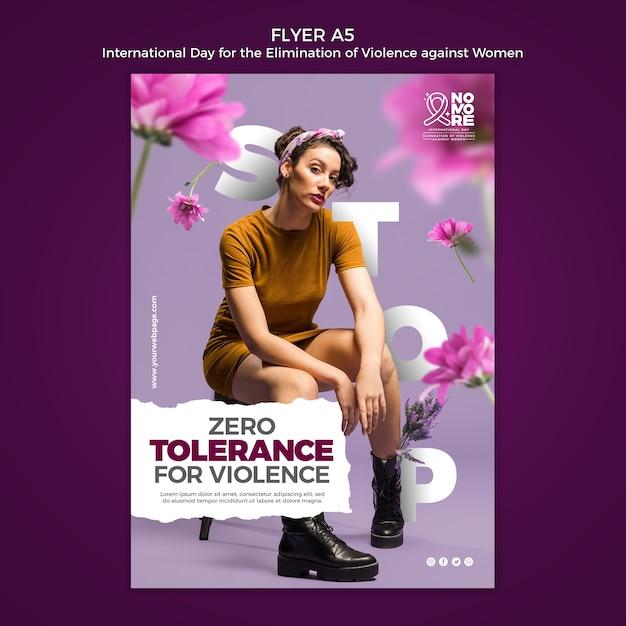 写真付きチラシチラシに対する暴力撲滅のための国際デー 無料 Psd