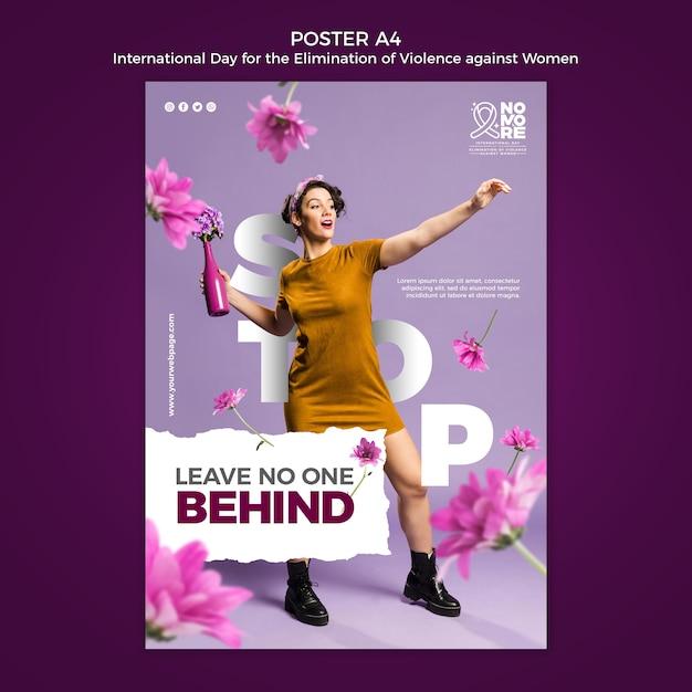 女性に対する暴力撲滅のための国際デーのポスター 無料 Psd