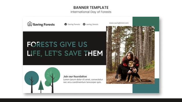 국제 숲 배너 서식 파일의 날 무료 PSD 파일
