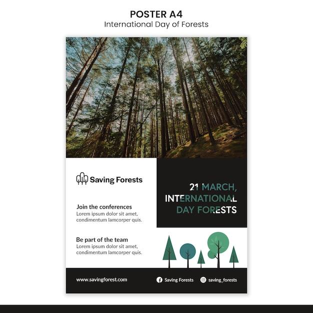 국제 숲의 날 포스터 템플릿 무료 PSD 파일