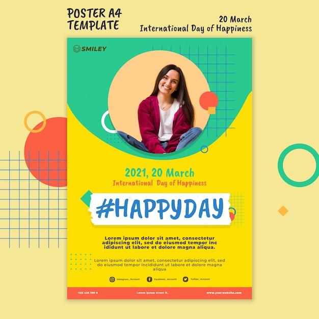 국제 행복의 날 포스터 무료 PSD 파일