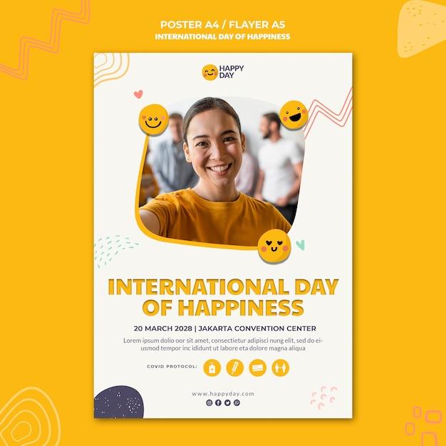 Международный день счастья плакат Бесплатные Psd