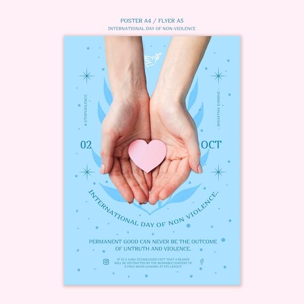 非暴力のポスターデザインの国際デー 無料 Psd