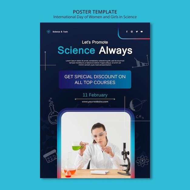 Шаблон печати международного дня женщин и девочек в науке Бесплатные Psd