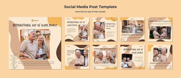 International day of older people social media post template Free Psd