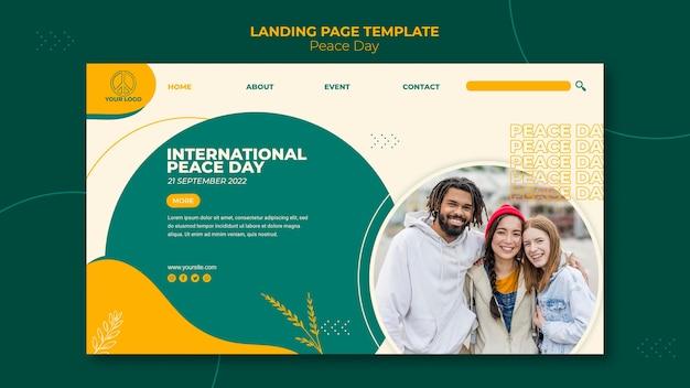 Шаблон целевой страницы международного дня мира Бесплатные Psd