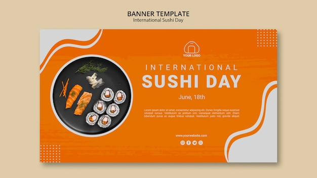 International sushi day banner template Free Psd