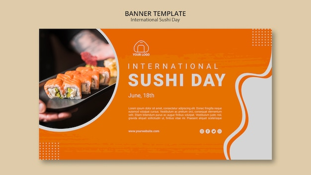 International sushi day banner Free Psd