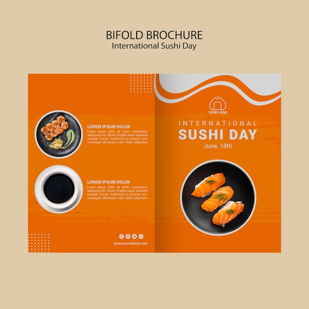 International sushi day bifold brochure template Free Psd