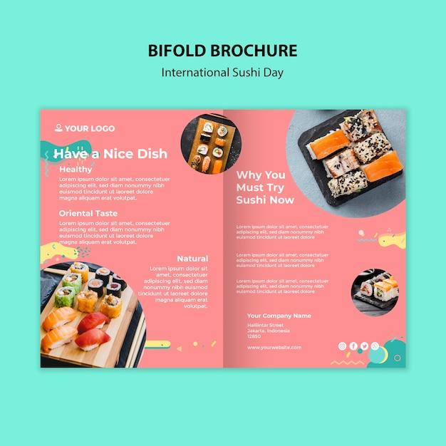 国際寿司デー2つ折りパンフレット 無料 Psd