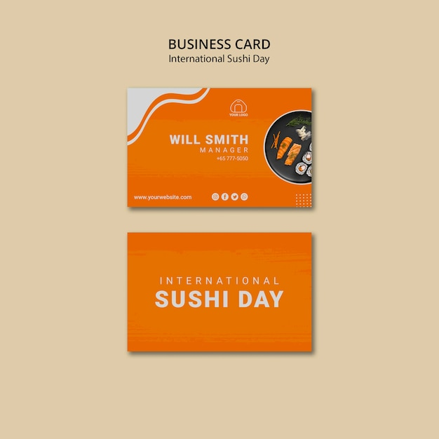 International sushi day business card template Free Psd