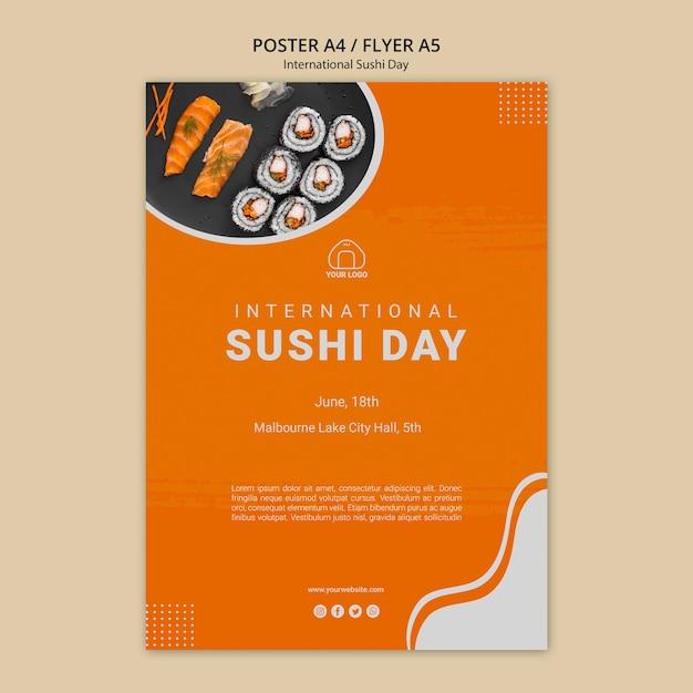 国際寿司デーチラシテンプレート 無料 Psd