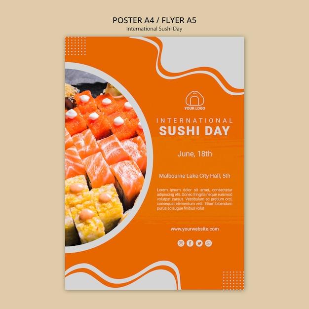 International sushi day flyer Free Psd