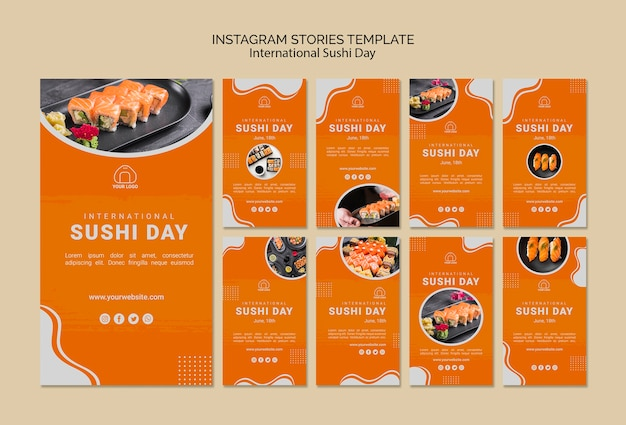 International sushi day instagram stories template Free Psd