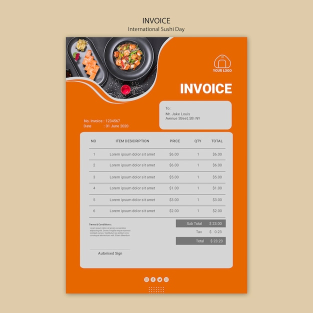 International sushi day invoice template Free Psd