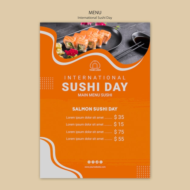 International sushi day menu template Free Psd
