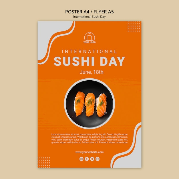 International sushi day poster template Free Psd