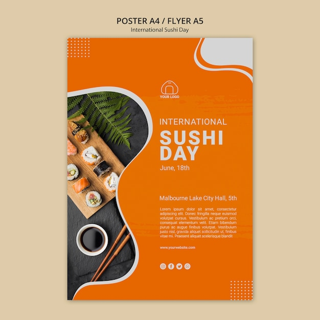International sushi day poster Free Psd