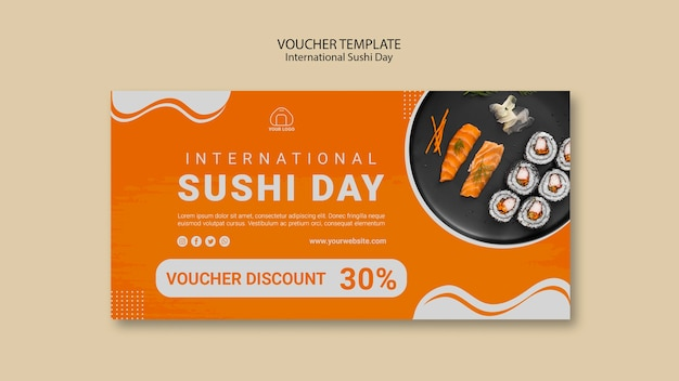 International sushi day voucher template Free Psd