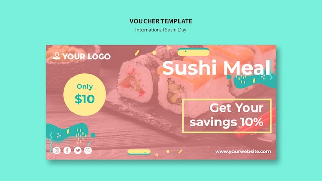 International sushi day voucher template Free Psd
