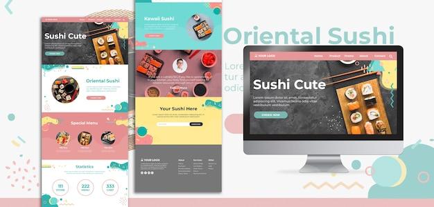 International sushi day web interface and landing page Free Psd